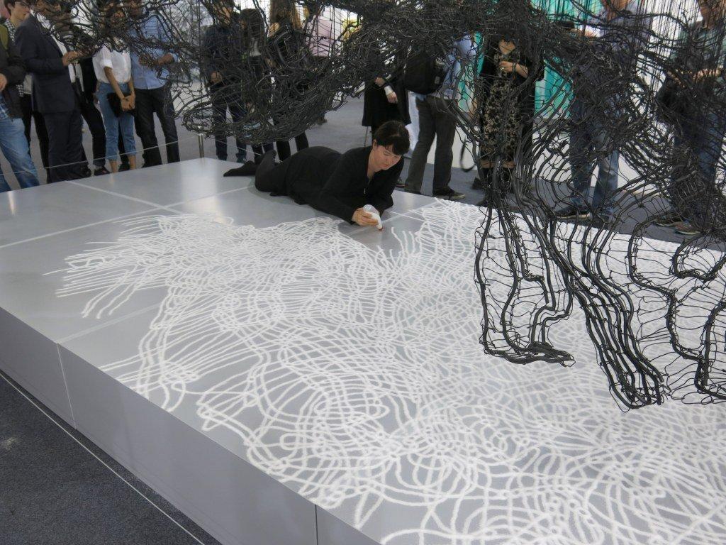 Anodized aluminium wire, nylon, salt and shadow, Hannah Quinlivan