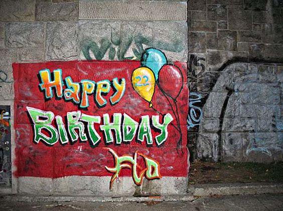 Поздравления с днём рождения в стиле граффити 35